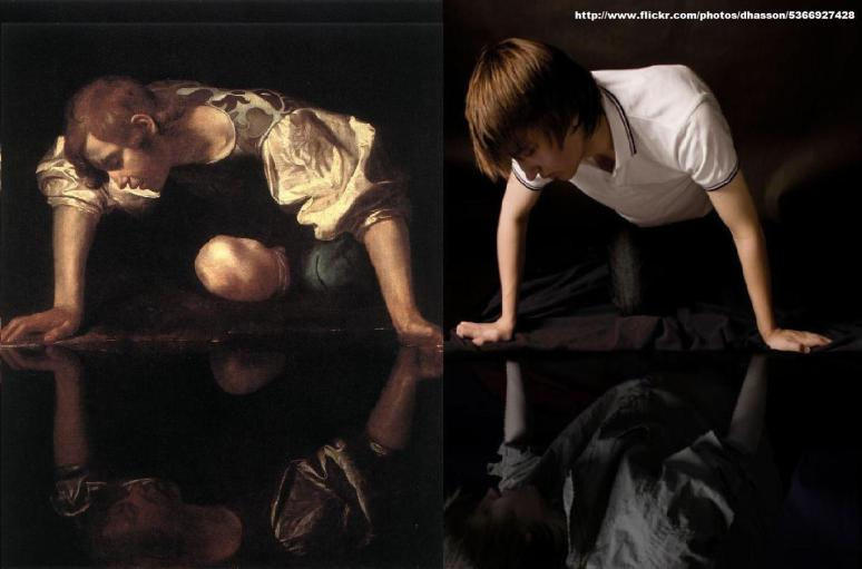 Caravaggio, Narcissus 1598-99 Darren Hasson recreation