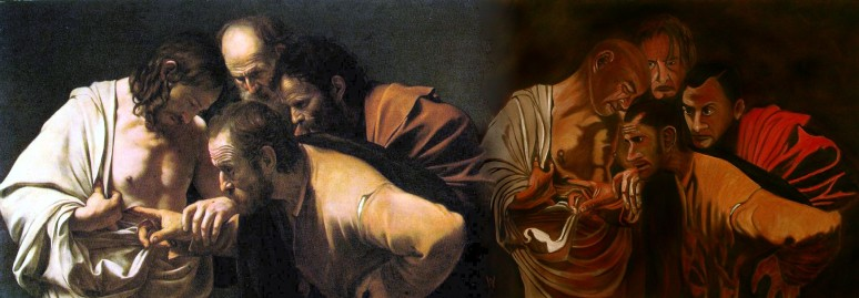Caravaggio, Doubting Thomas & Wm Snape, Doubting Jack