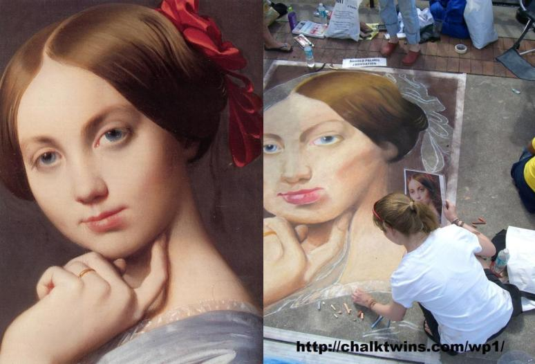 Ingres Chalked, Comtesse d'Haussonville 1845 The Frick detail