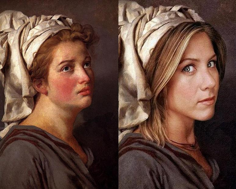 Young Woman (Jennifer Aniston) with a Turban by Jacques-Louis David
