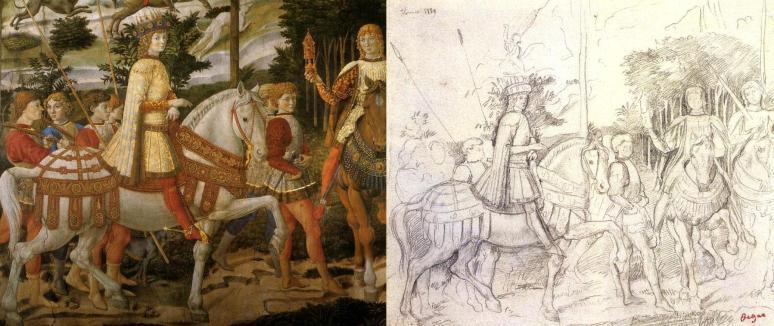 Gozzoli, Journey of the Magi, 1459-61, detail, Lorenzo de' Medici & Degas