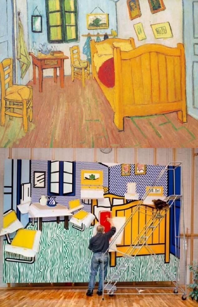 van gogh's bedroom in arles being repaintedroy lichtenstein