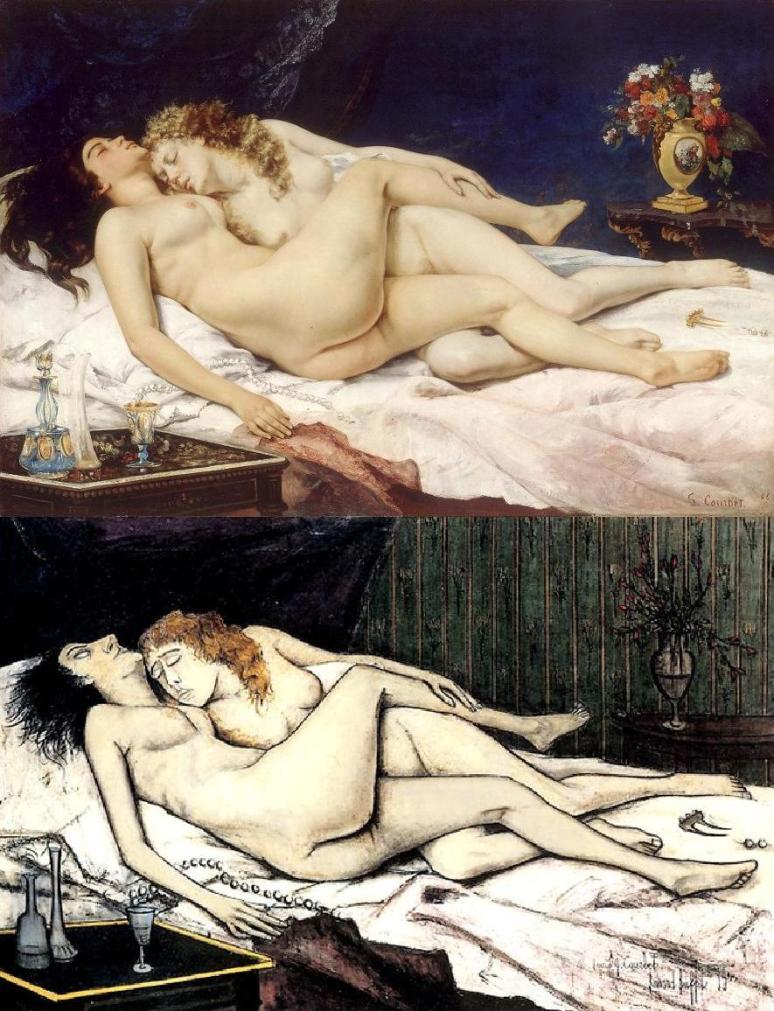 Bernard Buffet does Courbet, Sleepers, Le Sommeil 1866 Petit Palais