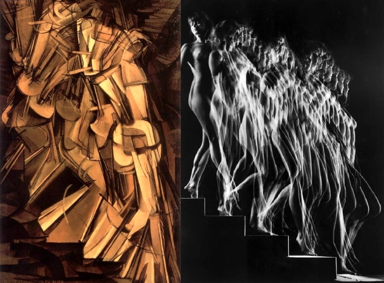 Duchamp, Nu descendant un Escalier No.2, 1912 & Gjon Mili Stroboscopic study 1942