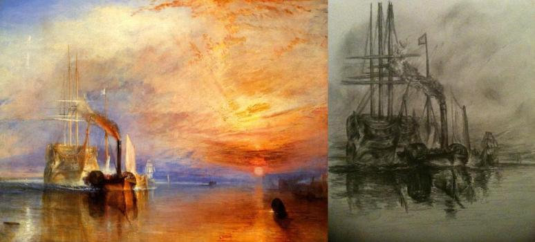 Turner, Fighting Temeraire 1839 drawing by Kelly Horn