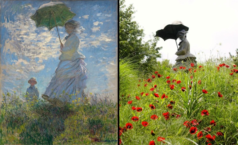 Monet, Woman with a Parasol, Madame Monet with her Son 1875, Poppied Hill Johnson
