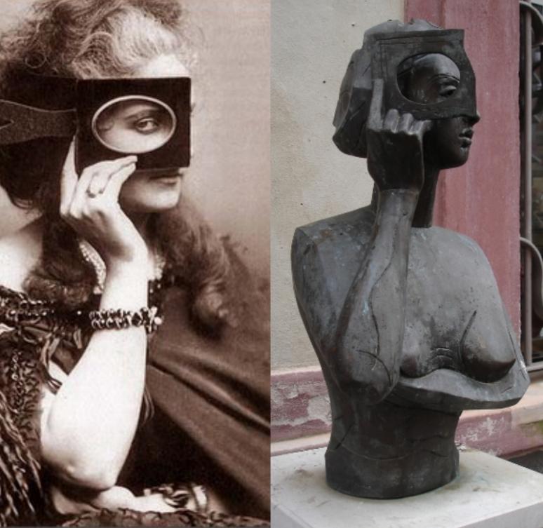 Contessa di Castiglione 1860 Pierson photo & bust - Copy (800x779)