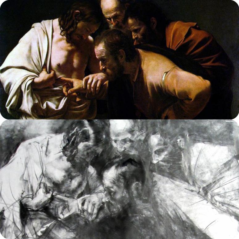 Caravaggio, Doubting Thomas_Michael Miroewski (1280x847)_Fotor_Collage