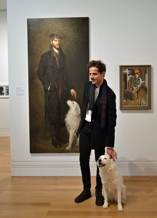 Gina & her owner Cristiano came to see their portrait by Isabella Watling, NPG London