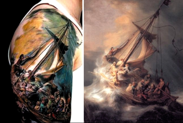 Rembrandt, The Storm on the Sea of Galilee tatoo