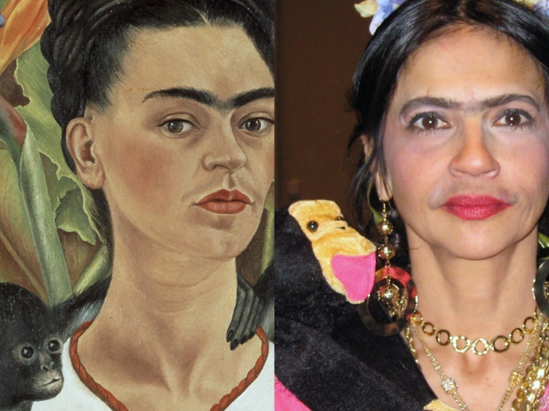 Kahlo's Autoritratto con Scimmie 1943 & look-a-like