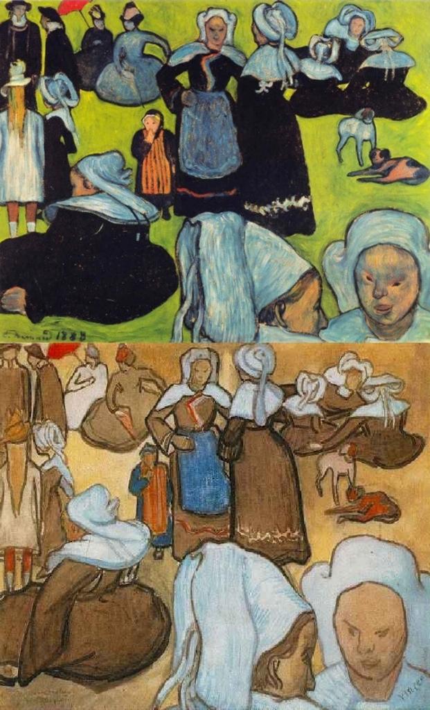 Bernard, Breton Women in the Meadow, van Gogh, Breton Women & Children