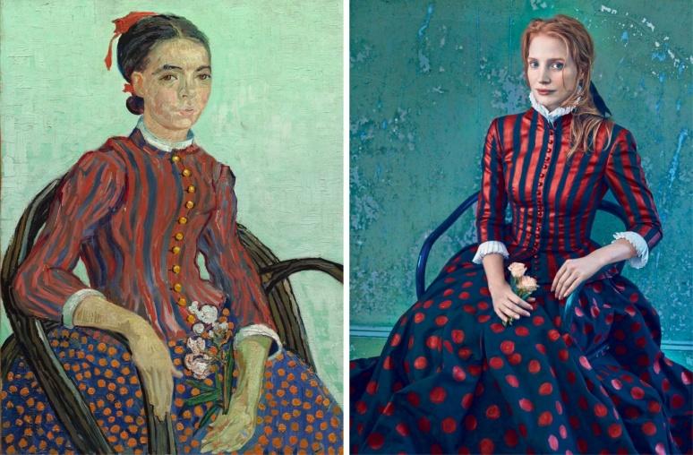 Jessica Chastain, photo in Vogue by Annie Leibovitz, van Gogh's La Mousmé 1888