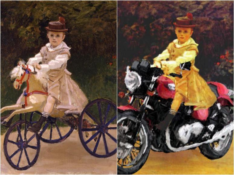 Monetesque, Little Jean on his Triumph Thruxton-900_Fotor_Collage