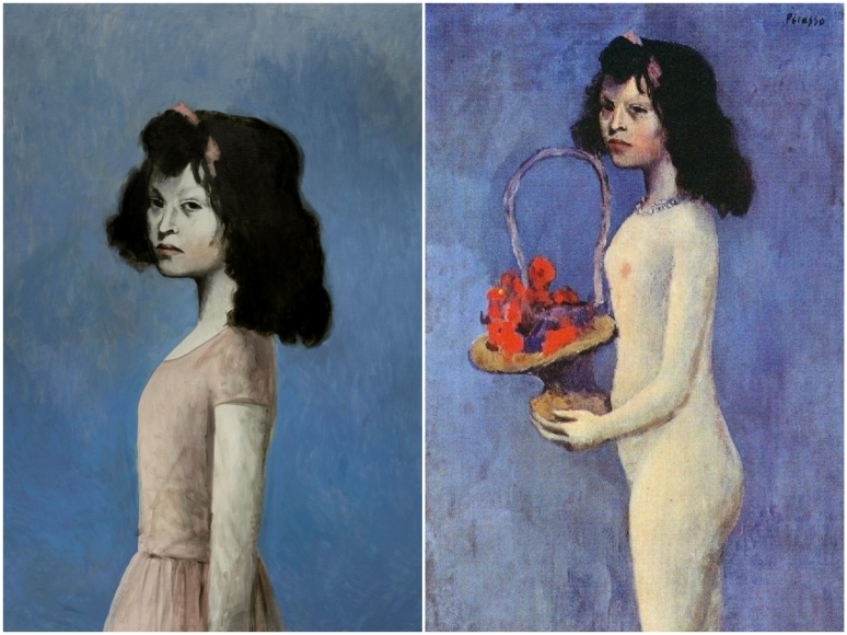 Picasso, Girl with Basket of Flowers (1905)_Fotor_Collage