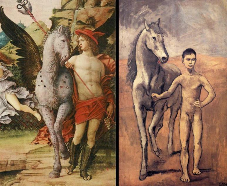 Mantegna, Parnassus 1497 & Picasso, Boy Leading a Horse 1906