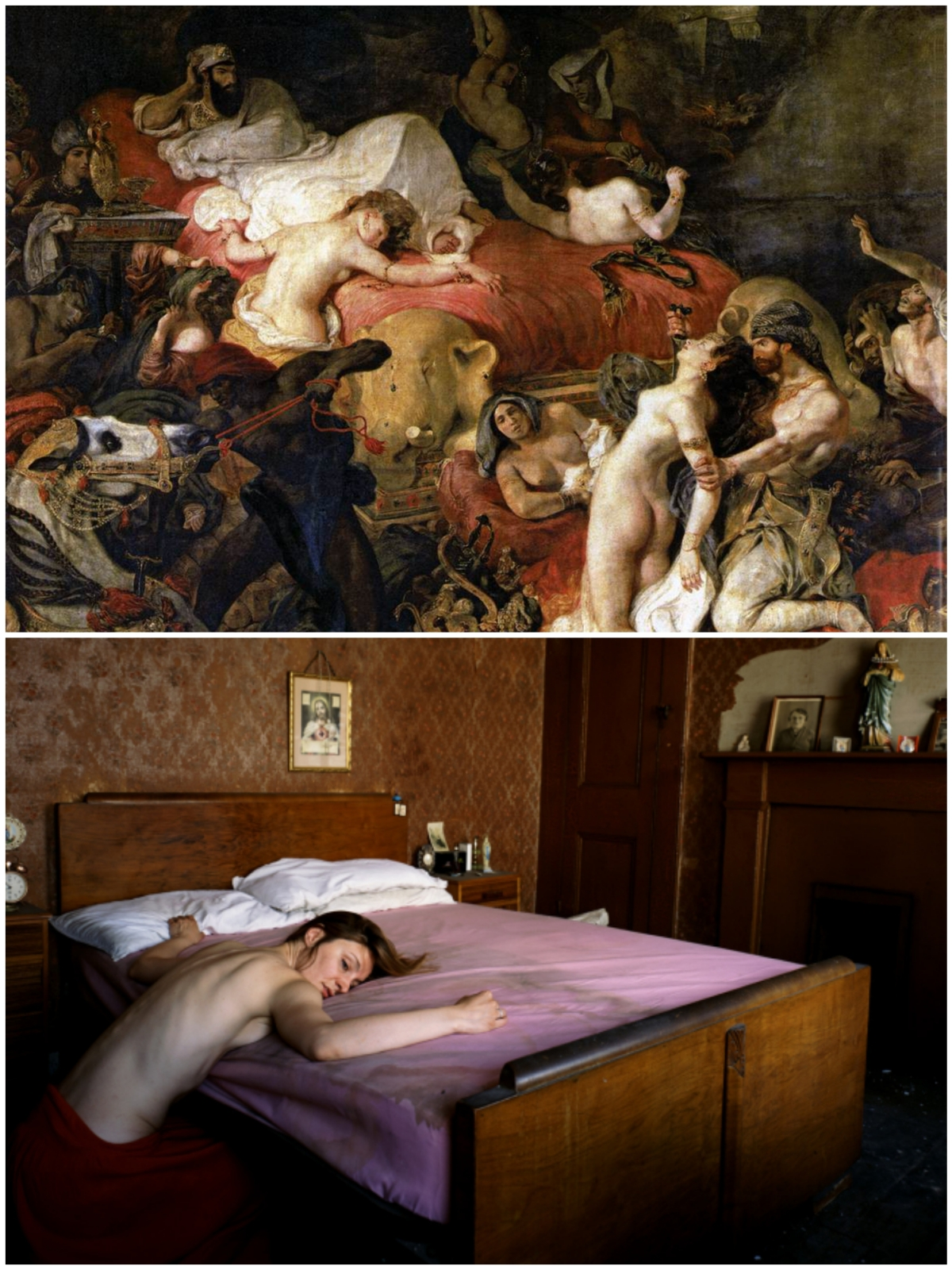 https://parodiesandvariations.files.wordpress.com/2015/12/delacroix-the-death-of-sardanapalus-1827-hunter-death-of-coltelli-2009_collage.jpg