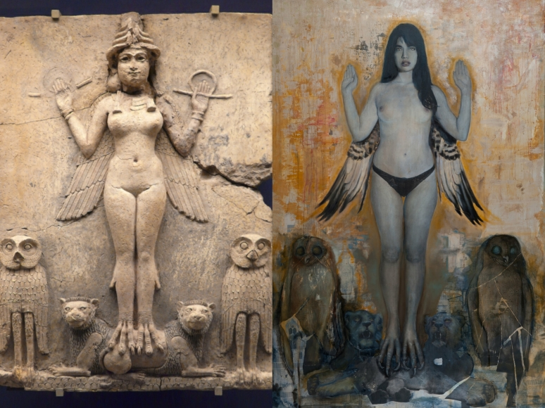 Sumerian goddess, Inanna & Michel Mandurino collage