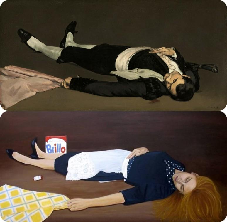 Manet, Dead Toreador c.1854 NGW_Lola Scarpitta, Dead Housewife, 2006